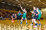 Antuan Bootle Scotts Lakers feeds the ball back to Andrew Fitzgerald during their clash with Limerick Celtics in Killarney Saturday night