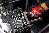 Jul. 27, 2013; Sonoma, CA, USA: Detailed view of a clutch in an NHRA top fuel dragster during qualifying for the Sonoma Nationals at Sonoma Raceway. Mandatory Credit: Mark J. Rebilas-