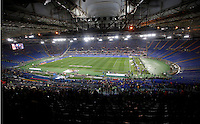 Calcio, Serie A: Roma vs Inter. Roma, stadio Olimpico, 1 marzo 2014. Le cuerve chiuse per squalifica dopo i cori razzisti.<br /> A view of the Olympic stadium, with the empty Curva Nord and Curva Sud due to fan ban for racial abuse, prior to the start of the Italian Serie A football match between AS Roma and FC Inter in Ronme, 1 March 2014.<br /> UPDATE IMAGES PRESS/Riccardo De Luca