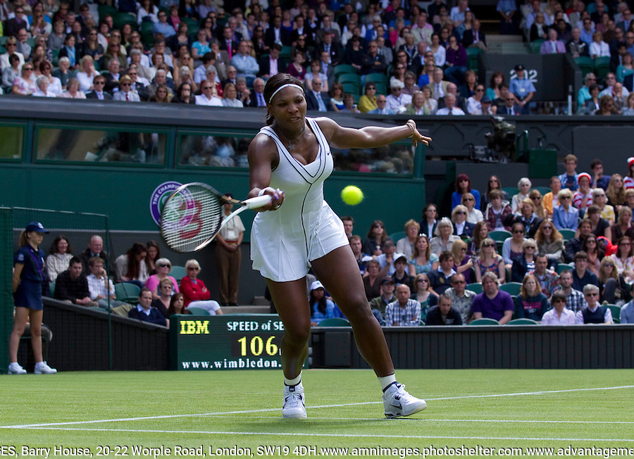 SERENA WILLIAMS (USA) (7) against ARAVANE REZAI (FRA) in the first round of the Ladies Singles. Serena Williams beat Aravane Rezai 6-3 3-6 6-1..Tennis - Grand Slam - Wimbledon - AELTC - London- Day 2 - Tue June 21st 2011..© AMN Images, Barry House, 20-22 Worple Road, London, SW19 4DH, UK..+44 208 947 0100.www.amnimages.photoshelter.com.www.advantagemedianetwork.com.