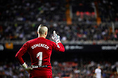 17th March 2019, Mestalla Stadium, Valencia, Spain; La Liga football, Valencia versus Getafe; Goalkeeper Jaume Domenech of Valencia CF gestures