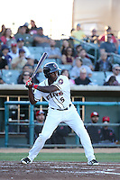 Jose Fernandez (5) of the Lancaster JetHawks bats against the High Desert Mavericks at The Hanger on April 16, 2016 in Lancaster, California. Lancaster defeated High Desert, 3-2. (Larry Goren/Four Seam Images)