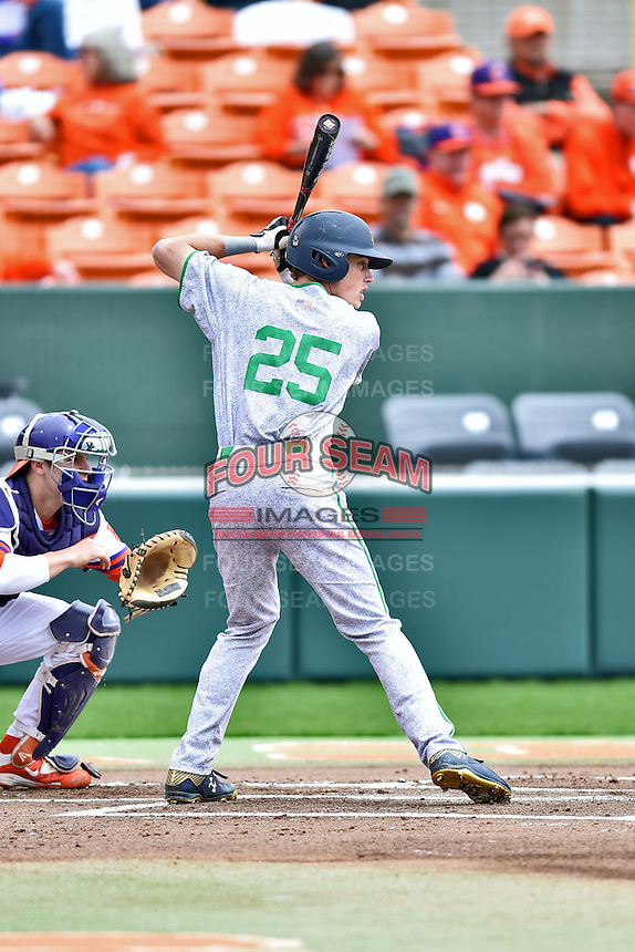 Notre Dame Fighting Irish right fielder Robert Youngdahl (25) awaits a pitch during a game against the Clemson Tigers during game one of a double headers at Doug Kingsmore Stadium March 14, 2015 in Clemson, South Carolina. The Tigers defeated the Fighting Irish 6-1. (Tony Farlow/Four Seam Images)