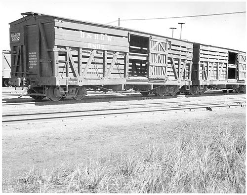 Stock car #5807 at Alamosa.<br /> D&amp;RGW  Alamosa, CO  1939