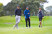 Boys' golf podium winners, from left: Robby Tunrbull, Alec Yap and Ben Ambler.. 2019 AIMS games at Mount Maunganui Golf Club in Mount Maunganui, New Zealand on Thursday, 12 September 2019. Photo: Dave Lintott / lintottphoto.co.nz