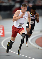 NWA Democrat-Gazette/ANDY SHUPE<br /> Arkansas' Hunter Woodhall leaves the blocks as he competes Saturday, May 11, 2019, in the 400 meters during the SEC Outdoor Track and Field Championships at John McDonnell Field in Fayetteville. Visit nwadg.com/photos to see more photographs from the meet.