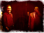 Lindenhurst, New York, USA. September 23, 2018.  L-R, Magicians DAVID ROSENFELD and JOE SILKIE are about to leave stage after performing in Comedy Magic Show presented by The Parlor of Mystery and South Shore Theatre Experience. David Rosenfeld performed close-up magic and mentalism. Joe Silkie, the Parlor of Mystery Producer, hosted show, and constructed and used custom magic props.