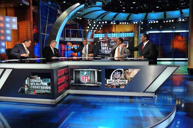 January  08, 2012 - Bristol, CT - Studio E:  Sunday NFL Countdown, Chris Berman, Mike Ditka, Keyshawn Johnson, Cris Carter and Tom Jackson. .Credit: Joe Faraoni/ESPN