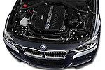 Car Stock 2015 BMW 3 Series 328d xDrive Sports Wagon 5 Door Wagon Engine  high angle detail view