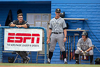 Cal Poly San Luis Obispo Mustangs assistant coach Teddy Warrecker smiles from the dugout during the game between the Cal Poly San Luis Obispo Mustangs and the UC-Riverside Highlanders at Riverside Sports Complex on May 26, 2018 in Riverside, California. The Cal Poly SLO Mustangs defeated the UC Riverside Highlanders 6-5. (Donn Parris/Four Seam Images)