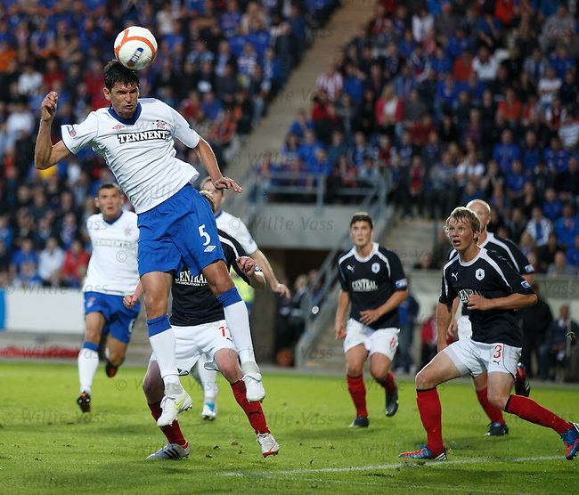 Emilson Cribari heads goalwards for Rangers but his effort sails wide