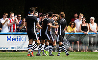 Lincoln City's Alex Woodyard, second in from right, celebrates scoring his sides second goal with team-mates<br /> <br /> Photographer Chris Vaughan/CameraSport<br /> <br /> Football - Pre-Season Friendly - Lincoln United v Lincoln City - Saturday 8th July 2017 - Sun Hat Villas Stadium - Lincoln<br /> <br /> World Copyright &copy; 2017 CameraSport. All rights reserved. 43 Linden Ave. Countesthorpe. Leicester. England. LE8 5PG - Tel: +44 (0) 116 277 4147 - admin@camerasport.com - www.camerasport.com