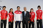 (L-R) Miho Yoshioka, Ai Yoshida (JPN),  Shinzo Abe, Asami Yoshida, Saori Kimura (JPN),<br /> AUGUST 21, 2016 - : <br /> Japanese prime minister Shinzo Abe attended the exchange meeting with Japan National team member and <br /> their medalist<br /> at Japan House in Rio de Janeiro <br /> during the Rio 2016 Olympic Games in Rio de Janeiro, Brazil. <br /> (Photo by Yusuke Nakanishi/AFLO SPORT)