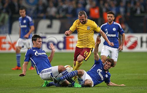 22.10.2015. Gelsenkirchen, Germany. UEFA Europa League football. FC Schalke versus Sparta Prague.  Kaan Ayhan (Schalke) Petr Jiracek (Sparta Prag) and Leon Goretzka (Schalke)