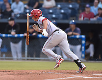 Hagerstown Suns designated hitter Jimmy Yezzo #8 swings at a pitch during a game against the Asheville Tourists at McCormick Field September 8, 2014 in Asheville, North Carolina. The Tourists defeated the Suns 16-7. (Tony Farlow/Four Seam Images)