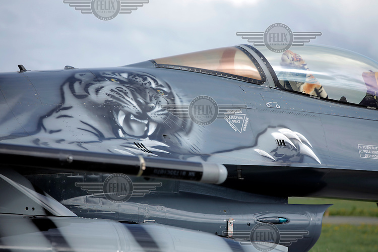 A Dutch F-16 painted with a tiger on the side. Nato Tiger Meet is an annual gathering of squadrons using the tiger as their mascot. While originally mostly a social event it is now a full military exercise. Tiger Meet 2012 was held at the Norwegian air base Ørlandet.