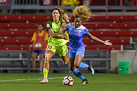 Bridgeview, IL - Wednesday August 16, 2017: Katlyn Johnson, Casey Short during a regular season National Women's Soccer League (NWSL) match between the Chicago Red Stars and the Seattle Reign FC at Toyota Park.