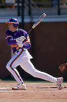 Shortstop Stan Widman (6) of the Clemson Tigers follows through on his swing versus the Wake Forest Demon Deacons during the first game of a double header at Gene Hooks Stadium in Winston-Salem, NC, Sunday, March 9, 2008.