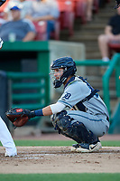 West Michigan Whitecaps catcher Joey Morgan (28) waits to receive a pitch during a game against the Kane County Cougars on July 19, 2018 at Northwestern Medicine Field in Geneva, Illinois.  Kane County defeated West Michigan 8-5.  (Mike Janes/Four Seam Images)