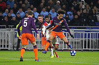 Leroy Sane of Manchester City blocks the path of Lyon's Nabil Fekir during Lyon vs Manchester City, UEFA Champions League Football at Groupama Stadium on 27th November 2018