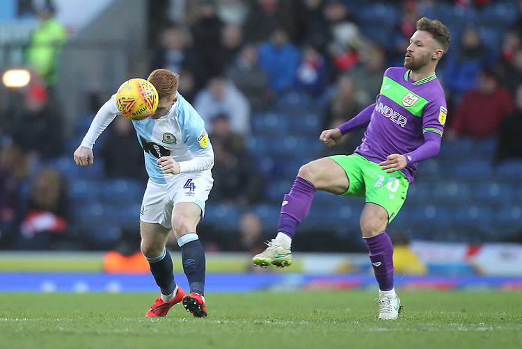 Blackburn Rovers Harrison Reed in action with Bristol City's Matty Taylor<br /> <br /> Photographer Mick Walker/CameraSport<br /> <br /> The EFL Sky Bet Championship - Blackburn Rovers v Bristol City - Saturday 9th February 2019 - Ewood Park - Blackburn<br /> <br /> World Copyright © 2019 CameraSport. All rights reserved. 43 Linden Ave. Countesthorpe. Leicester. England. LE8 5PG - Tel: +44 (0) 116 277 4147 - admin@camerasport.com - www.camerasport.com
