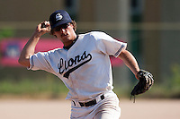 24 May 2009: Romain Scott-Martinez of Savigny throws the ball to first base during the 2009 challenge de France, a tournament with the best French baseball teams - all eight elite league clubs - to determine a spot in the European Cup next year, at Montpellier, France. Rouen wins 7-5 over Savigny.