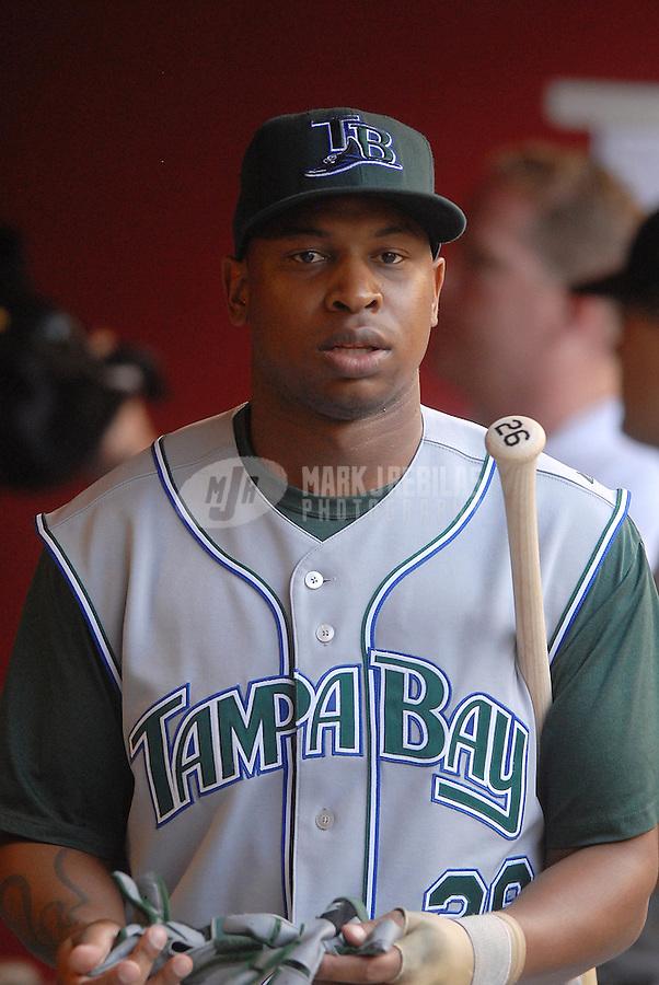 Jun 18, 2007; Phoenix, AZ, USA; Tampa Bay Devil Rays center fielder (26) Delmon Young against the Arizona Diamondbacks at Chase Field. Mandatory Credit: Mark J. Rebilas