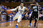 04 November 2014: Duke's Tyus Jones (5) and Livingstone's Robert Flint (15). The Duke University Blue Devils hosted the Livingstone College Blue Bears at Cameron Indoor Stadium in Durham, North Carolina in an NCAA Men's Basketball exhibition game.