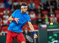 The Hague, The Netherlands, September 15, 2017,  Sportcampus , Davis Cup Netherlands - Chech Republic, First Rubber: Jiri Vesely (CZE)<br /> Photo: Tennisimages/Henk Koster