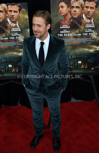 WWW.ACEPIXS.COM....March 28 2013, New York City....Actor Ryan Gosling arriving at 'The Place Beyond The Pines' New York Premiere at the Landmark Sunshine Cinema on March 28, 2013 in New York City.......By Line: Curtis Means/ACE Pictures......ACE Pictures, Inc...tel: 646 769 0430..Email: info@acepixs.com..www.acepixs.com