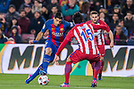 Luis Suarez of FC Barcelona fights for the ball with Stefan Savic of Atletico de Madrid during their Copa del Rey 2016-17 Semi-final match between FC Barcelona and Atletico de Madrid at the Camp Nou on 07 February 2017 in Barcelona, Spain. Photo by Diego Gonzalez Souto / Power Sport Images