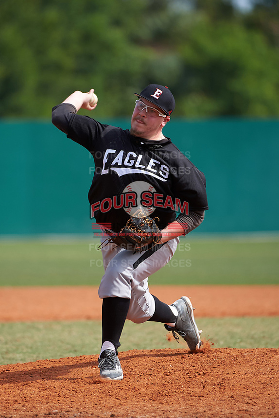 Edgewood Eagles pitcher AJ Verhage (22) delivers a pitch during the first game of a doubleheader against the Lasell Lasers on April 14, 2016 at Terry Park in Fort Myers, Florida.  Edgewood defeated Lasell 9-7.  (Mike Janes/Four Seam Images)