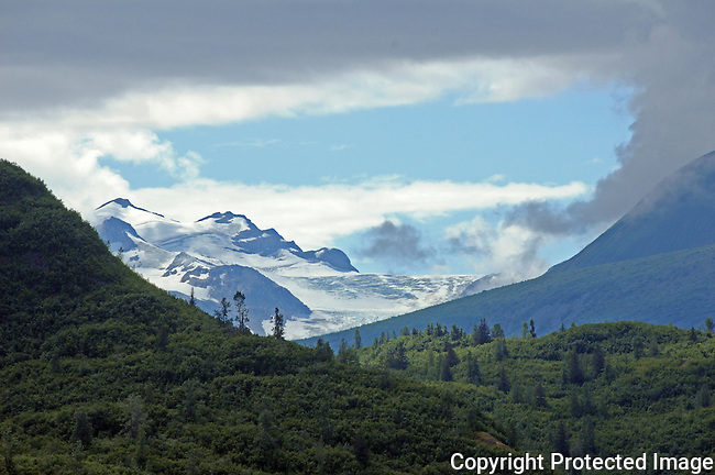 a glacier topped mountains peeks out from an opening in the clouds, behind a pine covered mountain, in Glacier Bay national park, Alaska