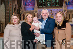 Baby Aoife with her parents Tricia & Colman O'Flaherty, Listowel and god parents Caroline Bridgeman & Alicia O'Flaherty who was christened in St. Mary's Church, Listowel by Canon Declan O'Connor on Saturday last and afterwards at Behan's Horseshoe Bar & Restaurant, Listowel.