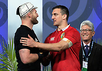 Kieran Read and Sam Warburton shake hands after the 2017 DHL Lions Series rugby union 3rd test match between the NZ All Blacks and British & Irish Lions at Eden Park in Auckland, New Zealand on Saturday, 8 July 2017. Photo: Dave Lintott / lintottphoto.co.nz