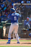 A.J. Pollock (11) of the Los Angeles Dodgers at bat during a Cactus League Spring Training game against the Texas Rangers on March 8, 2020 at Surprise Stadium in Surprise, Arizona. Rangers defeated the Dodgers 9-8. (Tracy Proffitt/Four Seam Images)