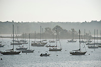 Sailboats anchored off of Kittery Point, Maine, ME, USA