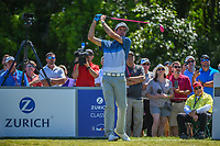 Bubba Watson (USA) watches his tee shot on 8 during Round 1 of the Zurich Classic of New Orl, TPC Louisiana, Avondale, Louisiana, USA. 4/26/2018.<br /> Picture: Golffile | Ken Murray<br /> <br /> <br /> All photo usage must carry mandatory copyright credit (&copy; Golffile | Ken Murray)