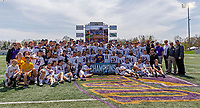 Albany Great Danes celebrate the win as UAlbany Lacrosse defeats Vermont 14-4  in the American East Conference Championship game at Casey Stadium, May 5.