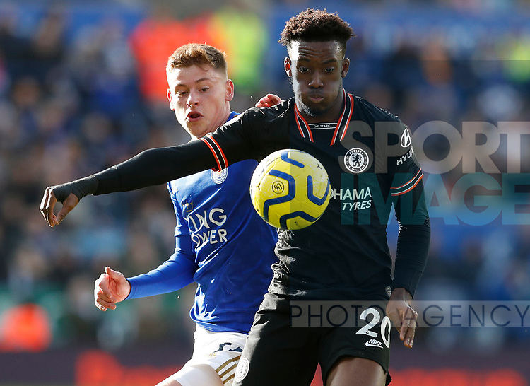 Harvey Barnes of Leicester City challenges Callum Hudson-Odoi of Chelsea during the Premier League match at the King Power Stadium, Leicester. Picture date: 1st February 2020. Picture credit should read: Darren Staples/Sportimage