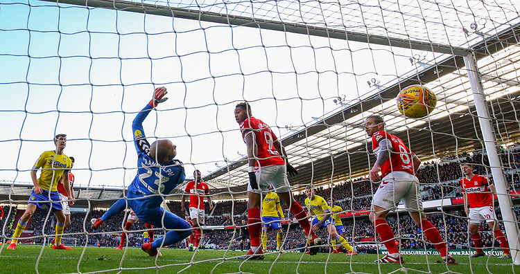 Leeds United's Kalvin Phillips scores his side's equalising goal to make the score 1-1 in the 101st minute<br /> <br /> Photographer Alex Dodd/CameraSport<br /> <br /> The EFL Sky Bet Championship - Middlesbrough v Leeds United - Saturday 9th February 2019 - Riverside Stadium - Middlesbrough<br /> <br /> World Copyright &copy; 2019 CameraSport. All rights reserved. 43 Linden Ave. Countesthorpe. Leicester. England. LE8 5PG - Tel: +44 (0) 116 277 4147 - admin@camerasport.com - www.camerasport.com