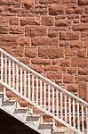 1900's red sandstone building detail, Kayenta, Arizona, Navajo Reservation, Navajo Nation,U.S.A.,