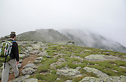 Hiker on the Appalachian Trail (Garfield Ridge Trail) in the White Mountains of New Hampshire in foggy conditions during the summer months.