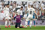 (L-R) Real Madrid CF's Carlos Henrique Casemiro, Raphael Varane, Toni Kroos  and FC Barcelona's Luis Suarez during La Liga match. March 02,2019. (ALTERPHOTOS/Alconada)