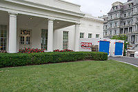 The White House West Wing in Washington, DC is undergoing renovations while United States President Donald J. Trump is vacationing in Bedminster, New Jersey on Friday, August 11, 2017.  This is the scene outside the West Wing.<br /> CAP/MPI/CNP/RS<br /> &copy;RS/CNP/MPI/Capital Pictures