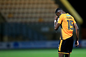 3rd October 2017, The Abbey Stadium, Cambridge, England; Football League Trophy Group stage, Cambridge United versus Southampton U21; A dejected Emmanuel Osadebe of Cambridge United after their loss