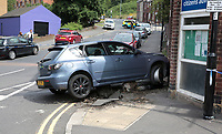 The car crash after a police chase up Duke Street, Sheffield, United Kingdom, 25th July 2017. Photo by Glenn Ashley.