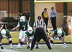 DENTON, TX - AUGUST 31: North Texas Mean Green quarterback Derek Thompson (7), offensive linesman Kaydon Kirby (50) and offensive linesman Mason Y'Barbo (57) of the North Texas Mean Green Football vs Idaho Vandals at Apogee Stadium in Denton on August 31, 2013 in Denton, Texas. Photo by Rick Yeatts
