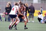 Santa Barbara, CA 02/18/12 - Ally Tepe (Arizona #4) and Maria Pestana (Santa Clara #25) in action during the Santa Clara-Arizona game at the 2012 Santa Barbara Shootout.  Santa Clara defeated Arizona 18-9.