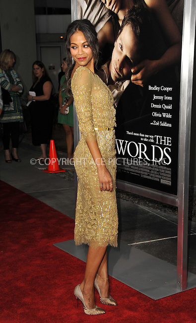 WWW.ACEPIXS.COM....September 4 2012, LA....Actress Zoe Saldana arriving at the Premiere Of CBS Films' 'The Words' at the ArcLight Cinemas on September 4, 2012 in Hollywood, California.......By Line: Peter West/ACE Pictures......ACE Pictures, Inc...tel: 646 769 0430..Email: info@acepixs.com..www.acepixs.com